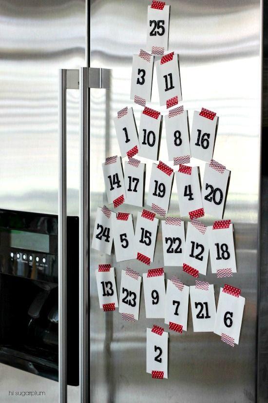 Calendario de adviento hecho a meno para frigorífico