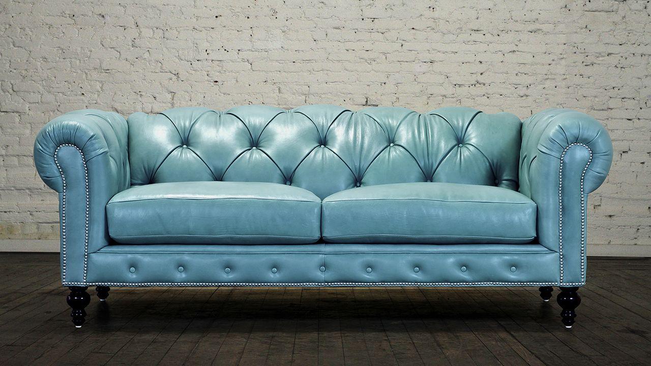 Sofá Chesterfield azul