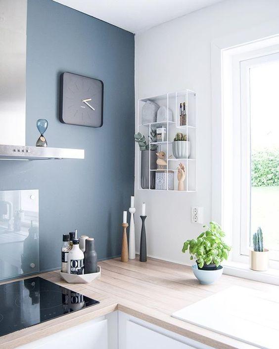 Cocina de color azul
