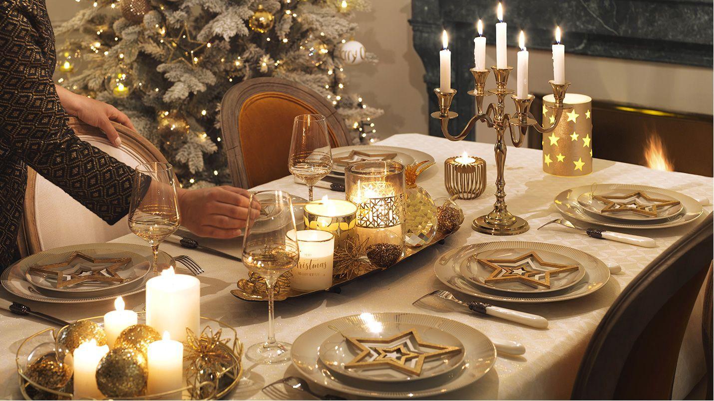 Decoración mesa navidad dorado