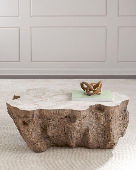 Mesa auxiliar de diseño tronco árbol
