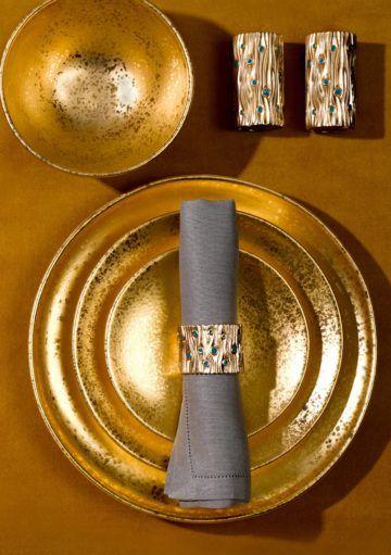 Decoración para la Mesa de Navidad en Dorado y Plata