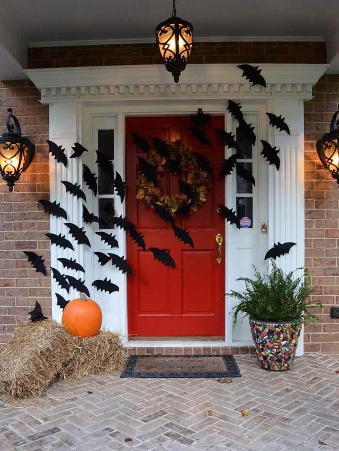 Decoración puertas de Halloween con murciélagos