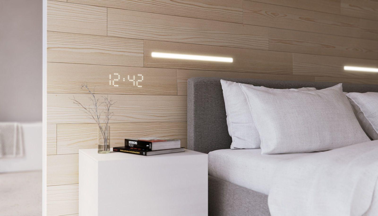 Reloj de luz led en pared